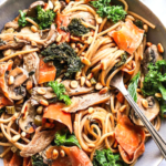 Mushroom Kale Pasta with Carrots Thyme and Toasted Pine Nuts
